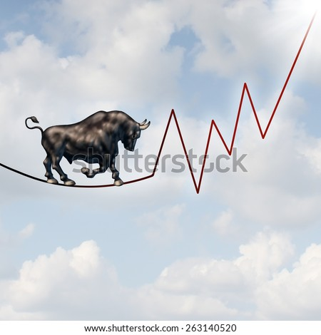 Bull market risk financial concept as a heavy bullish beast walking on a high tightrope shaped as a stock market profit chart representing the investment danger ahead. - stock photo
