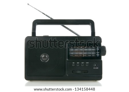 Bull's - eye radio with aerial on white background - stock photo