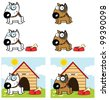 Bull Terrier Dog Different Color. Raster Illustration.Vector version also available in portfolio. - stock photo