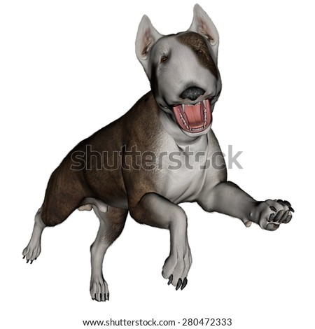 Bull terrier dog runnning isolated in white background - 3D render