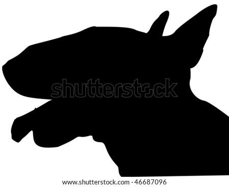 Bull Terrier silhouette - stock photo