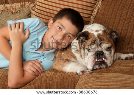 Bulldog and and his owner
