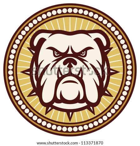 Bulldog head (angry bulldog, bulldog illustration, bulldog badge, bulldog symbol) - stock photo
