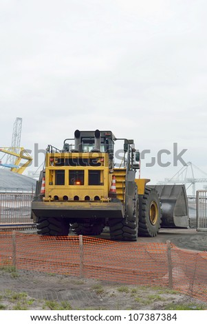 bulldozer at coal terminal