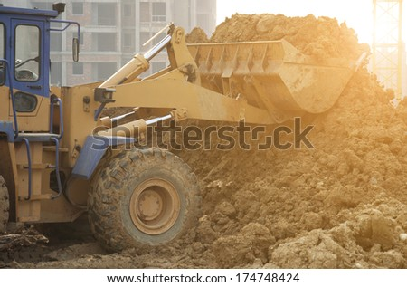 bulldozer at work  - stock photo