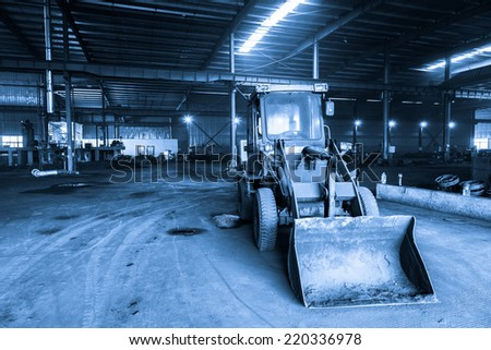 bulldozer in the factory