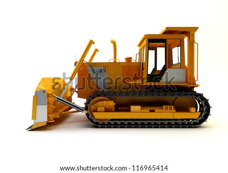 Bulldozer isolated on white - stock photo