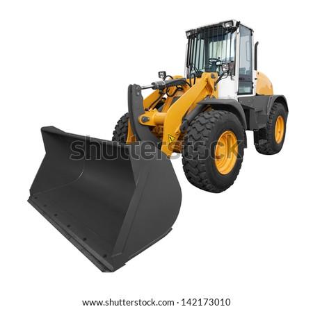 bulldozer isolated on white background - stock photo
