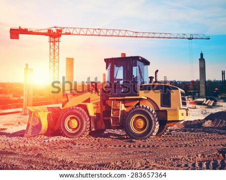 bulldozer on construction site - stock photo