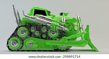 Bulldozer revival /  Powerful futuristic bulldozer vehicle - stock photo
