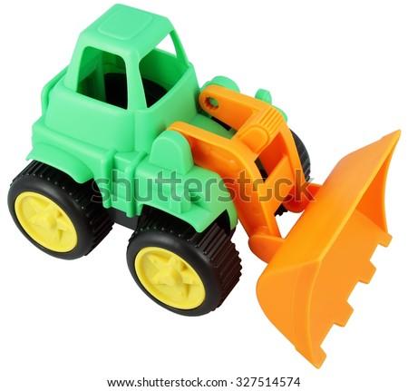 Bulldozer toy. Small bulldozer model. - stock photo