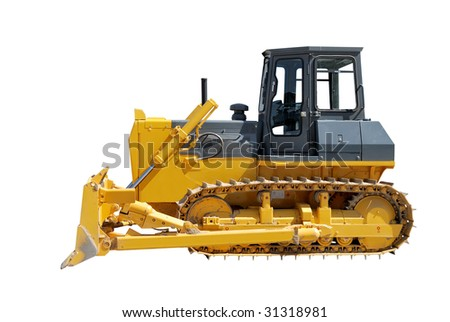 bulldozer with blade dropped down over white