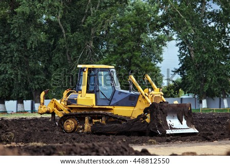 Bulldozer working at construction site