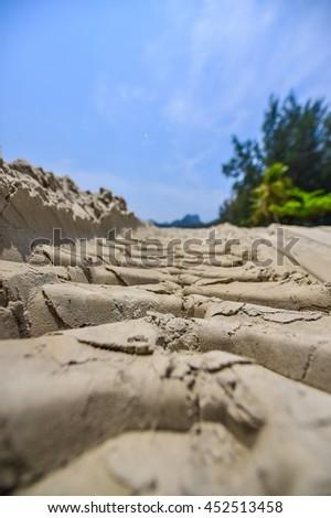 bulldozer working on a beach  - stock photo