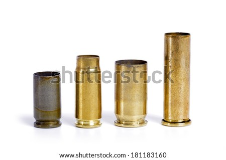 bullet cartridges big and small isolated - stock photo