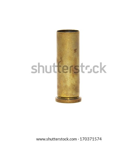 Bullet casings isolated white background - stock photo