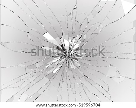Bullet hole Cracked and Shattered glass on black. 3d rendering 3d illustration