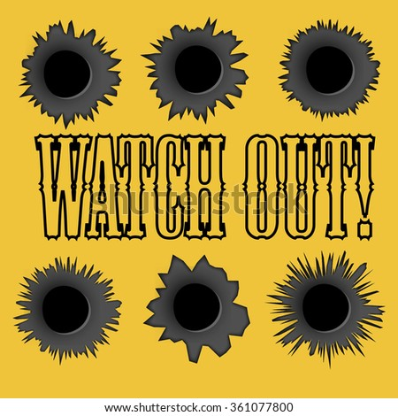 Bullet holes. Easy to place on different color or background. Yellow. - stock photo