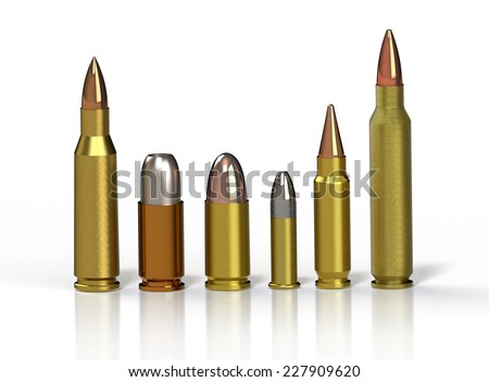 Bullet. Row of different bullets on a reflective floor over a white background. 3D render - stock photo