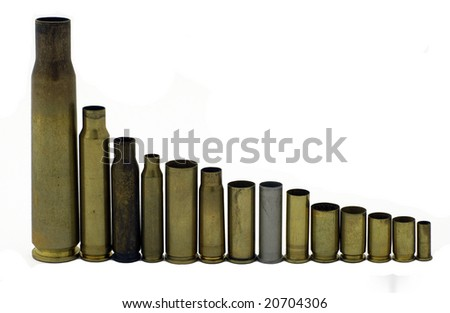 Bullet shell casings decreasing in size, 50 caliber to 22 long rifle - stock photo