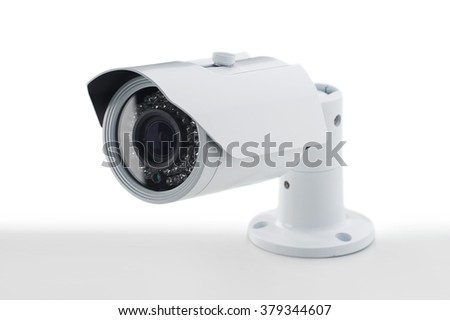 Bullet style secure camera on light background, surveillance cameras.