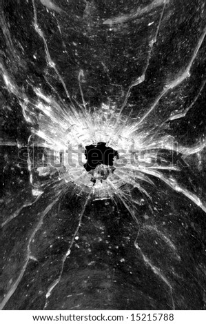 Bullethole in a glass - stock photo