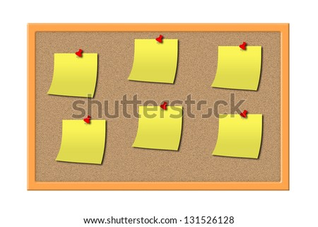 Bulletin corkboard with 6 paper blanks, pushpins and a wooden frame isolated on a white background.