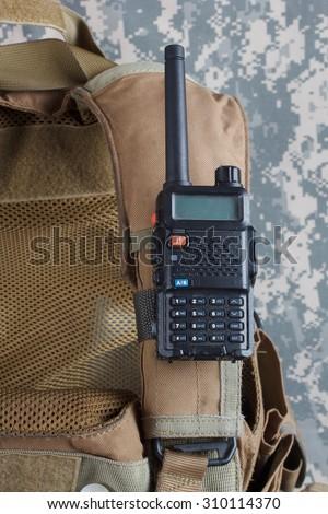 Bulletproof vest with Walkie-talkie background - stock photo