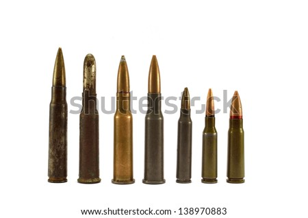 bullets and cartridges on a white background