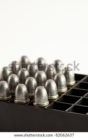 bullets for gun on white background
