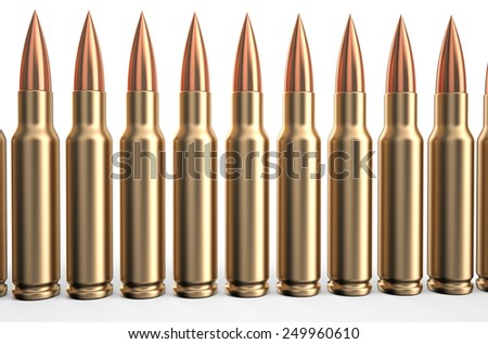 bullets in a row isolated on white background - stock photo