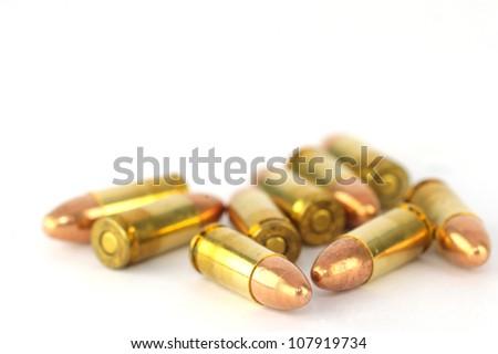 Bullets 9mm handgun on  white background - stock photo