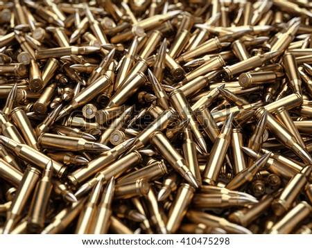 Bullets pile background - 3d render - stock photo