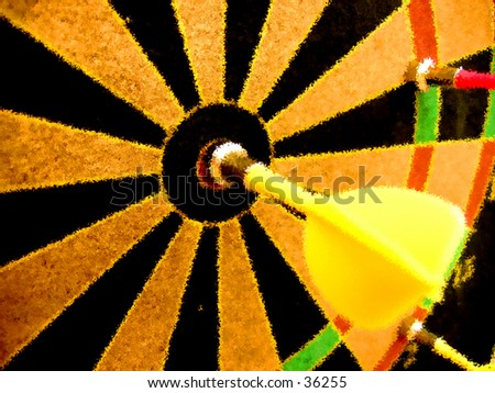 Bulleye on the Dartboard - stock photo