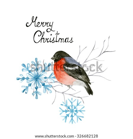 Bullfinch on winter branch. Christmas decoration. Watercolor Illustration with handwritten lettering - stock photo