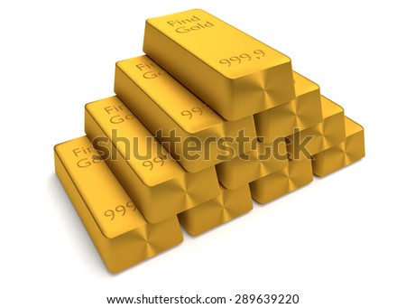 Bullions of gold lying on each other. Finance concept - stock photo