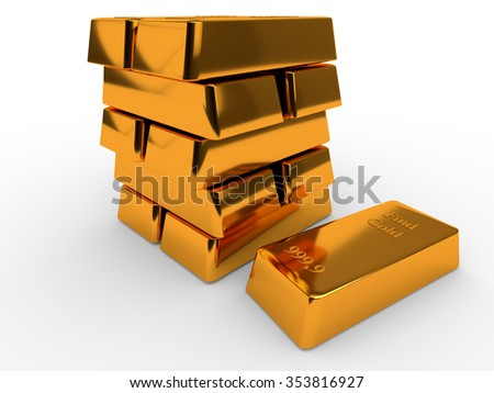 Bullions of gold lying on each other. Finance concept