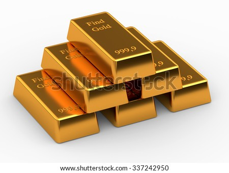 Bullions of gold lying on each other isolated on white - stock photo