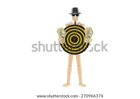 Bulls Eye Target US Money One Hundred Dollar Bills Wood Mannequin wearing red striped tie isolated on white background - stock photo