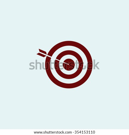 bullseye Red flat icon. Simple illustration pictogram - stock photo