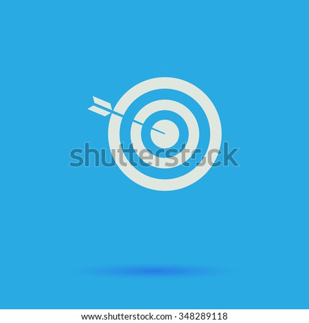 bullseye White flat simple pictogram on blue background with shadow  - stock photo
