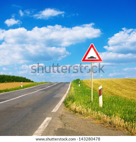 Bump ahead road sign - stock photo