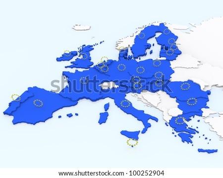 bump map of European Union - stock photo