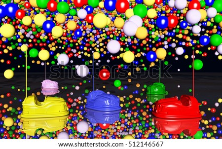 Bumper cars and toy balloons against a black background Computer generated 3D illustration