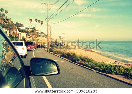Bumper to bumper, rush hour traffic on Pacific Highway. Most popular route for scenic road trips on the West Coast. Vacation, adventure, travel and transportation concept.