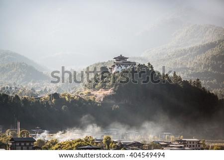Bumthang Dzong monastery in the Kingdom of Bhutan. - stock photo