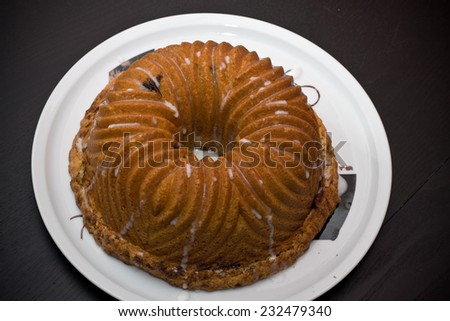 Bun Cake Pecan, Cinnamon Vanilla cream and sugar  - stock photo
