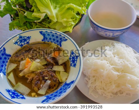 Bun cha - a Vietnamese dish of grilled pork and noodle - stock photo