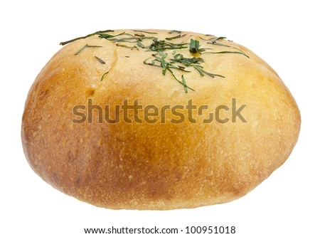 Bun filled with eggs isolated on white with clipping path.