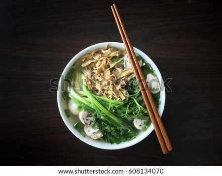 Bun Moc - Traditional Northern Vietnamese Rice Vermicelli Mushroom Soup